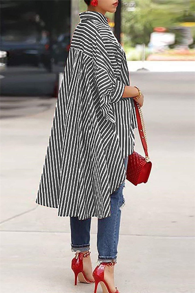 Asymmetric Hem Stripe Print Casual Shirt - MISSINDRESS