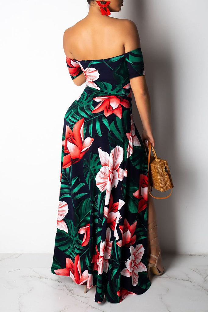 Off The Shoulder Floral Side Slit Maxi Dress