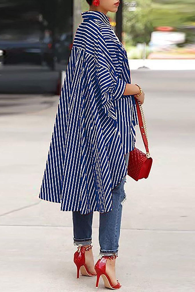 Asymmetric Hem Stripe Print Casual Shirt