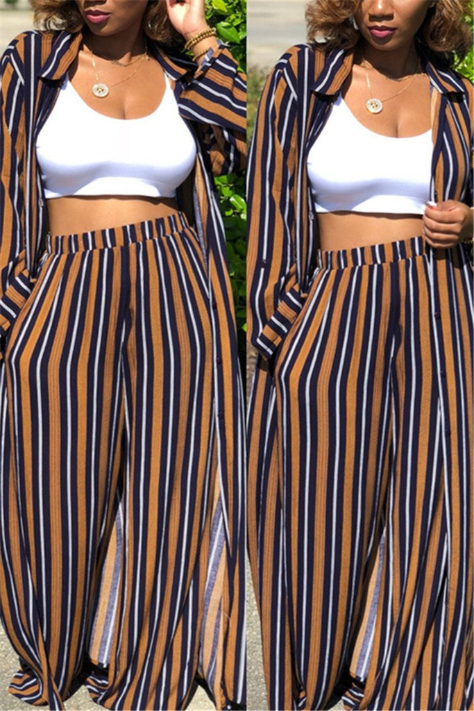 Button Up Stripe Print Casual Two Piece Sets - MISSINDRESS