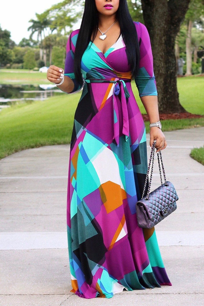 Belted Color Block V Neck Long Sleeve Maxi Dress - MISSINDRESS