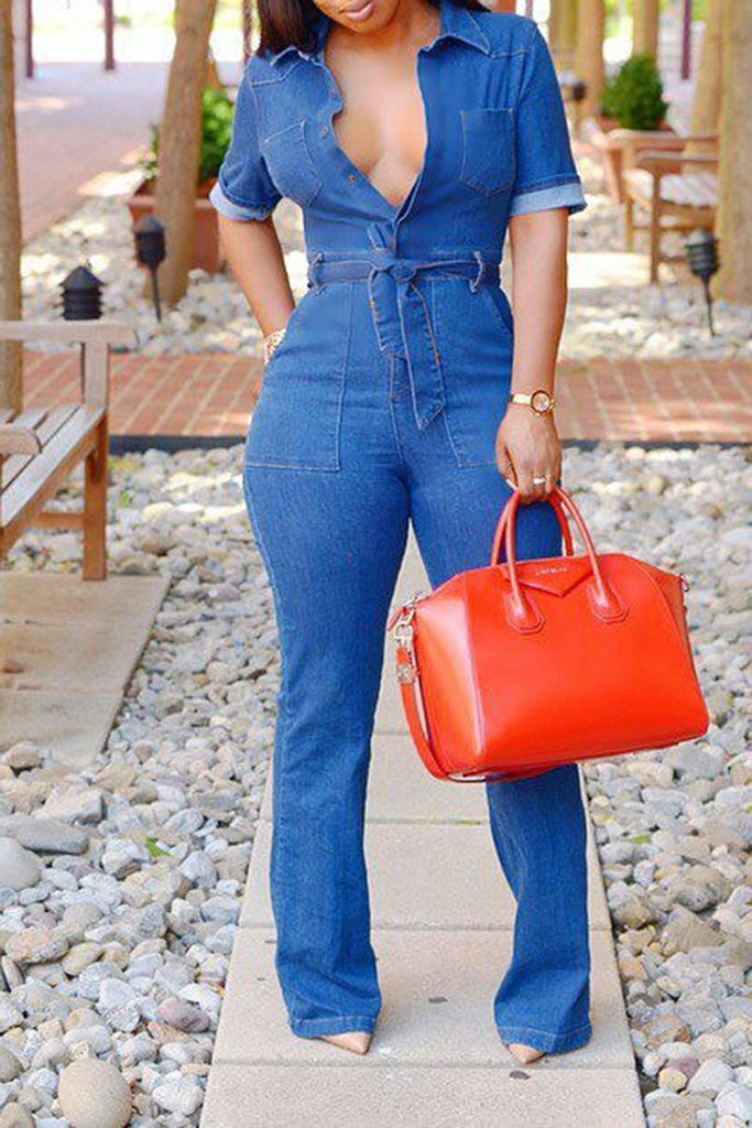 Turndown Collar Denim Jumpsuit With Belt