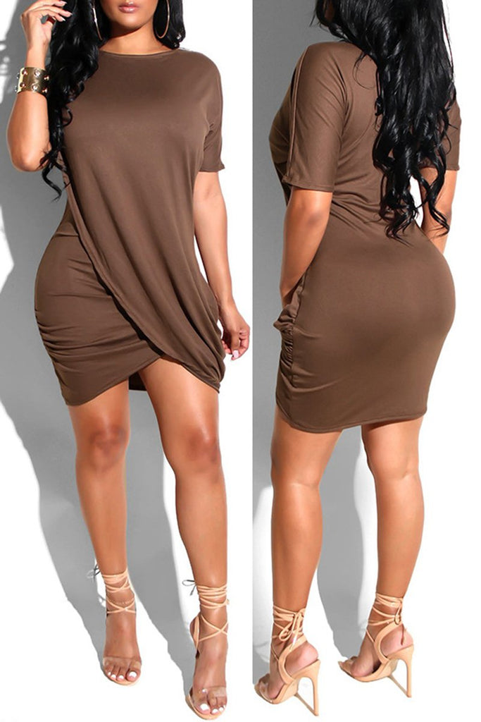 Irregular Hem Short Sleeve Casual Mini Dress