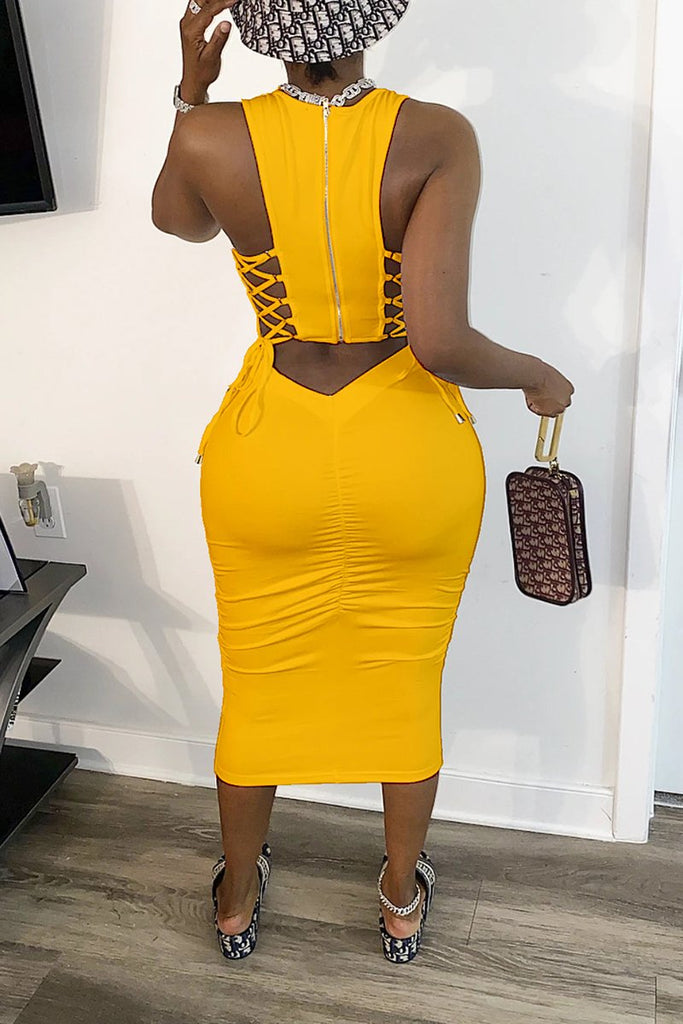 Back Bandage Scoop Neck Midi Dress