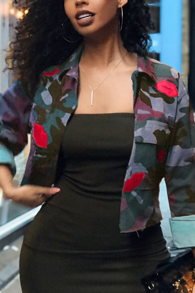 Camouflage Printed Long Sleeve Jacket - MISSINDRESS