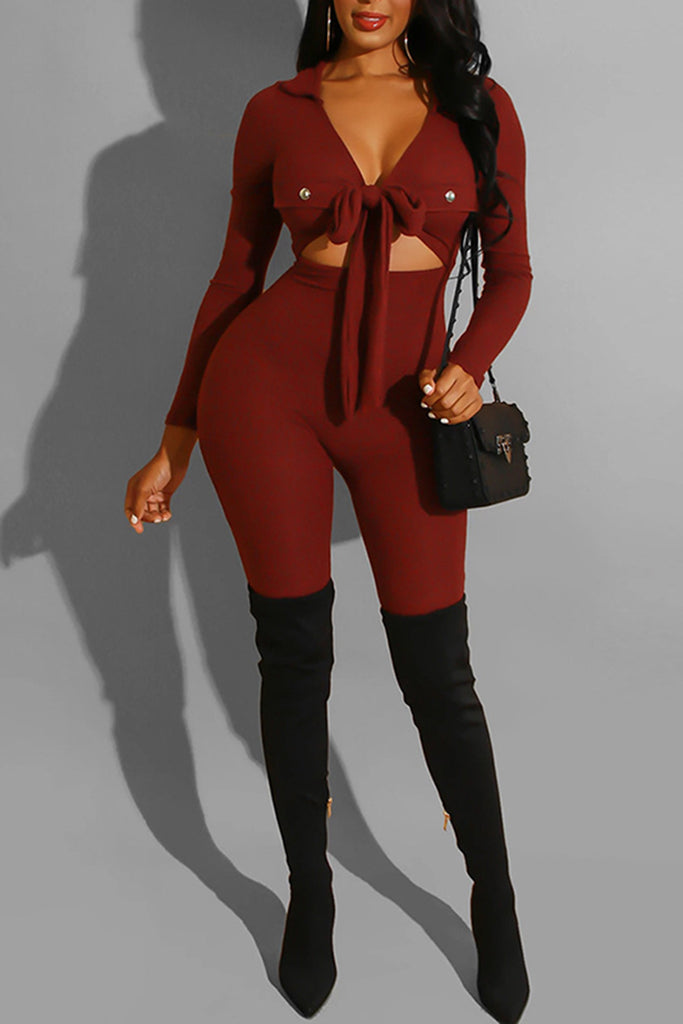 V-Neck Bowknot Pierced Long Sleeve Jumpsuit