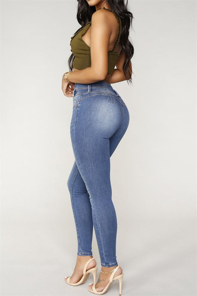 Button Up High Waist Pocket Skinny Jeans - MISSINDRESS