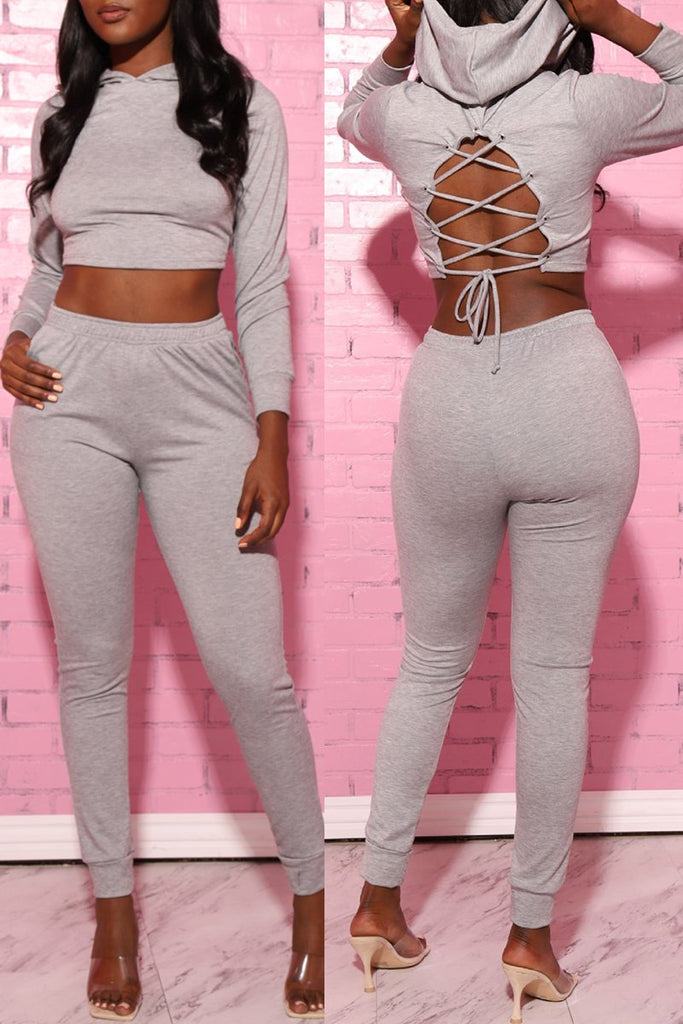 Hooded Back Bandage Solid Two Piece Sets