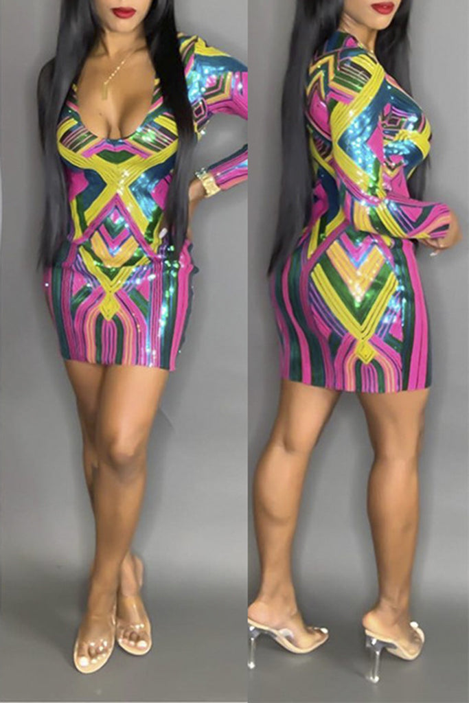 Scoop Neck Colorful Sequins Club Dress