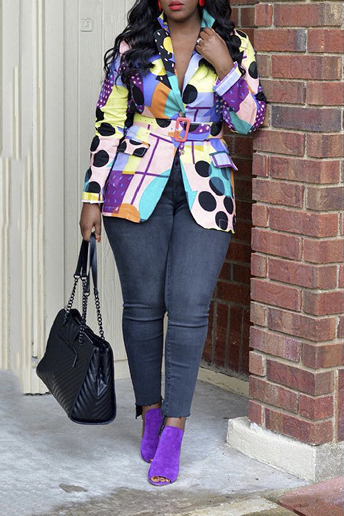 Polka Dot Turndown Collar Colorful Jacket