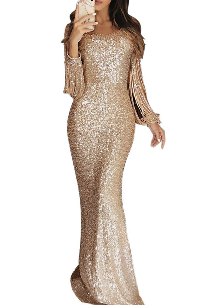 Tassels Sequins Solid Color Club Dress