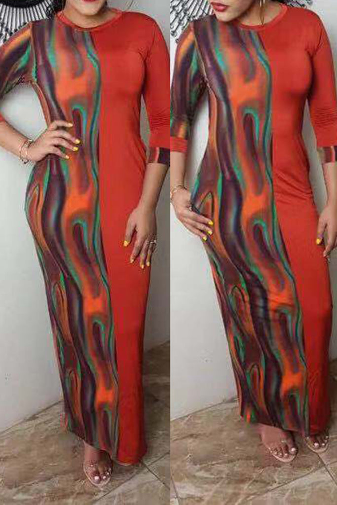 Color Splicing Long Sleeve Maxi Dress