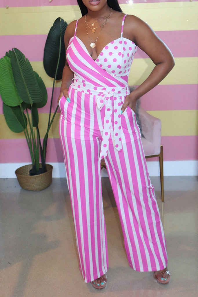 Polka Dot Striped Pocket Jumpsuit