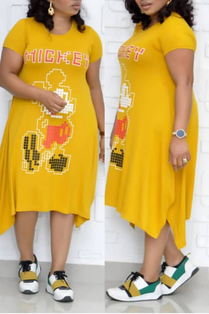 Plus Size Irregular Hem Cartoon Dress