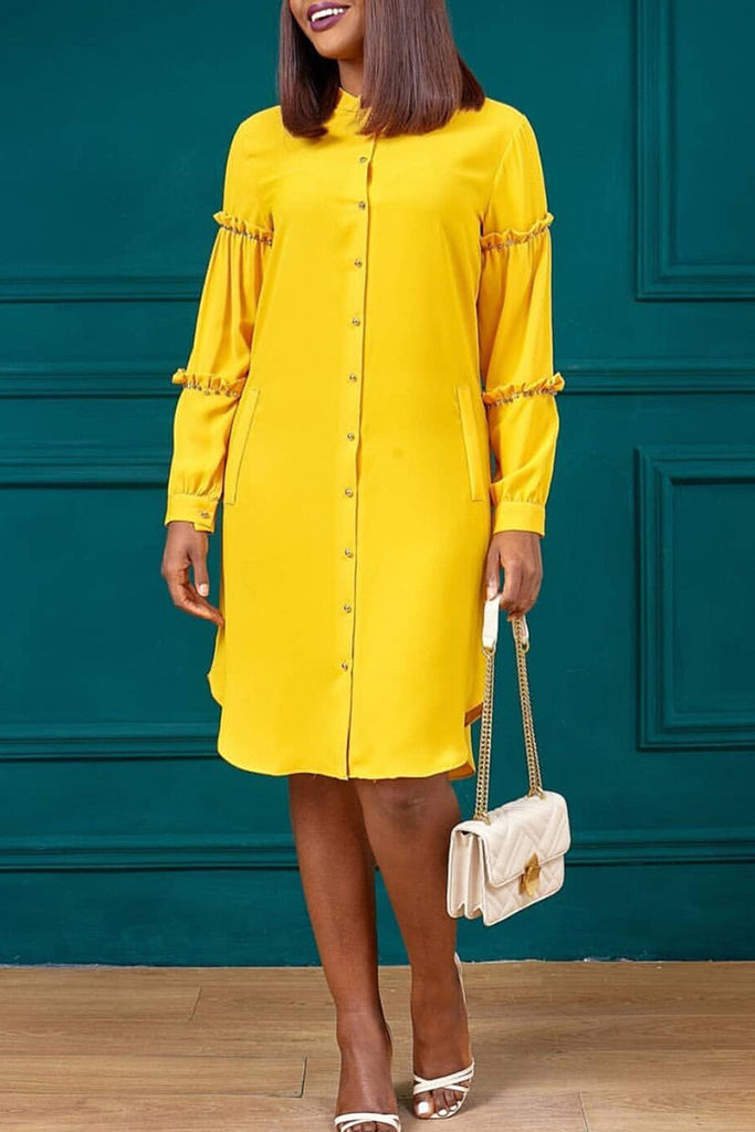 Beading Solid Color Ruffled Shirt Dress