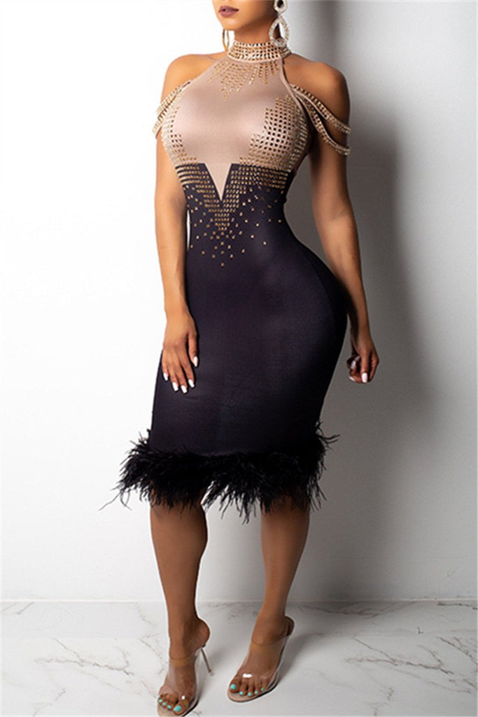 Rhinestone High Neck Feather Hem Color Block Dress