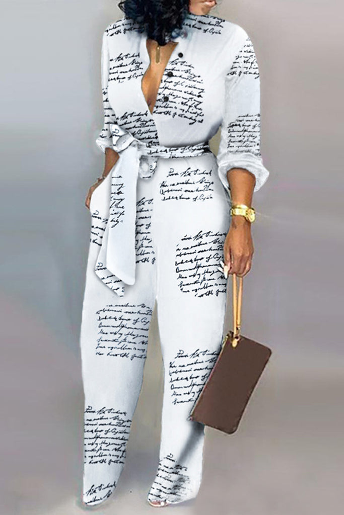 Letter Print Pocket Jumpsuit With Belt