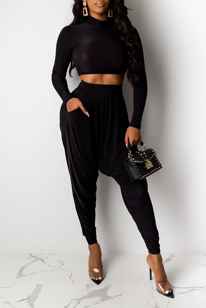 Draped High Waist Pocket Top & Pants