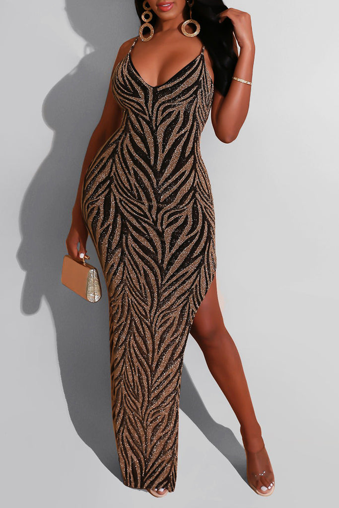 Sequins High Slit Sleeveless Club Dress