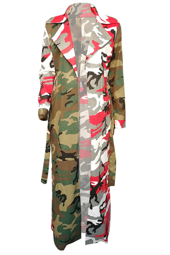 Camouflage Patchwork Long Sleeve Belted Coat