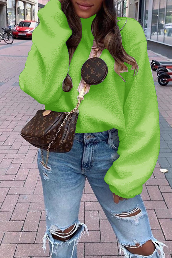 Plush Puff Sleeve Solid Color Sweatshirt