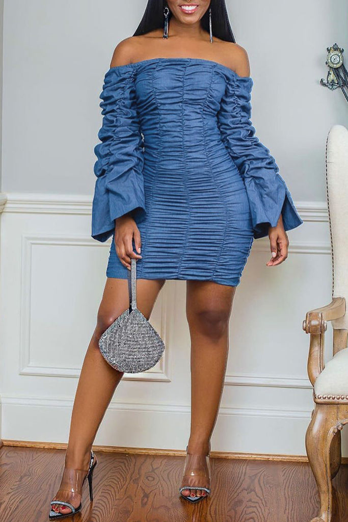 Denim Draped Off The Shoulder Dress