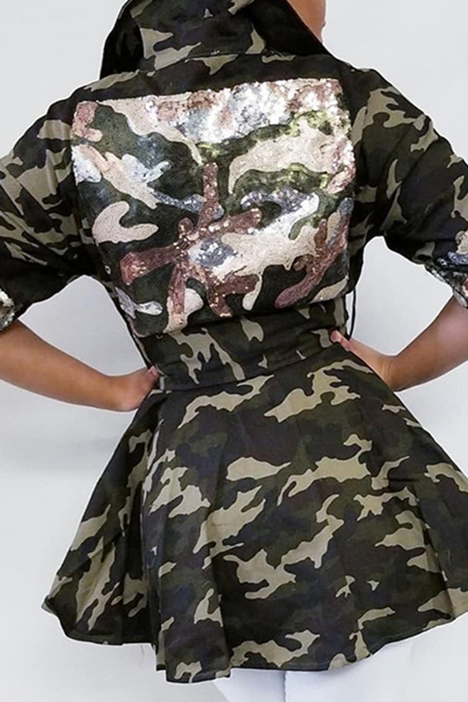 Sequins Camouflage Ruffled Hem Coat