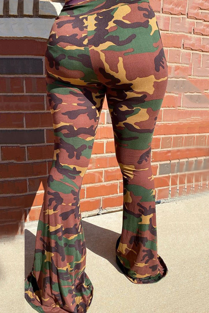 Colorful Camouflage Print Flared Pants