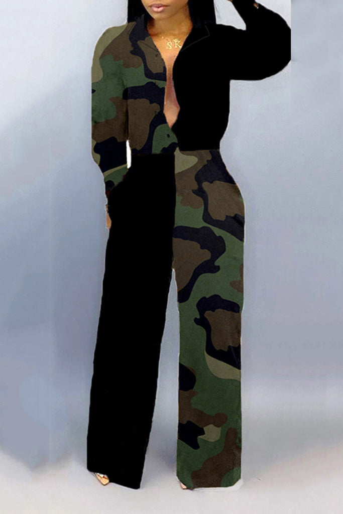 Leopard Turndown Collar Button Jumpsuit