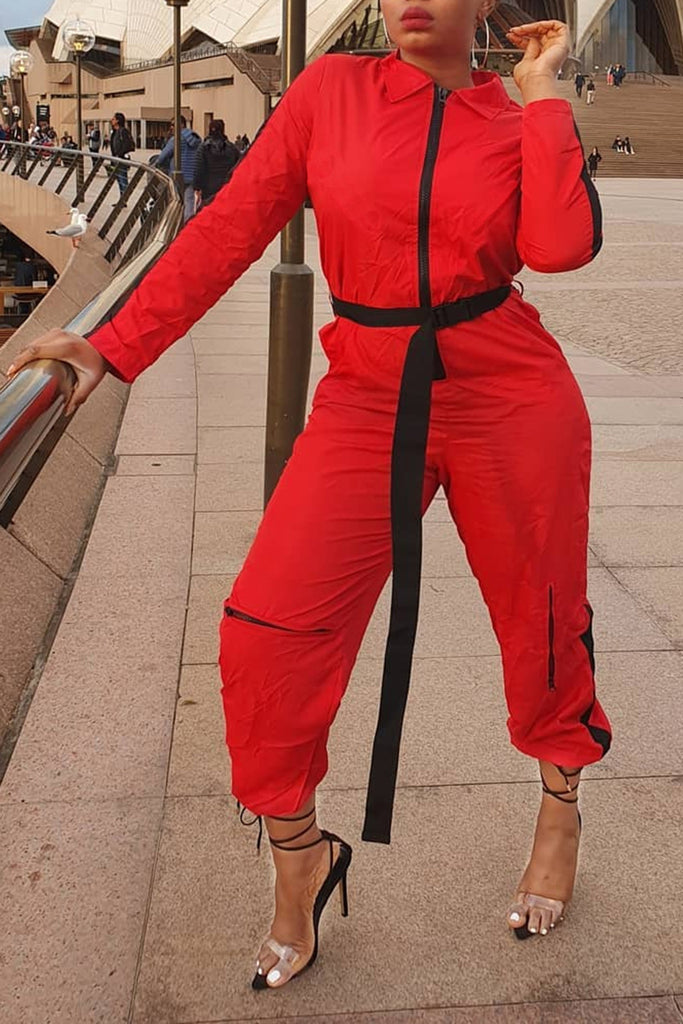 Zipper Pocket Belted Long Sleeve Jumpsuit
