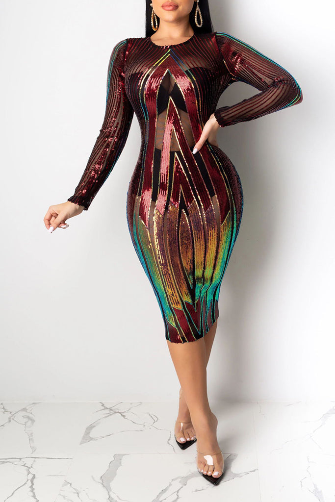 See-Through Colorful Sequins Club Dress