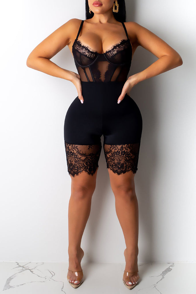 See-Through Lace Sleeveless Romper