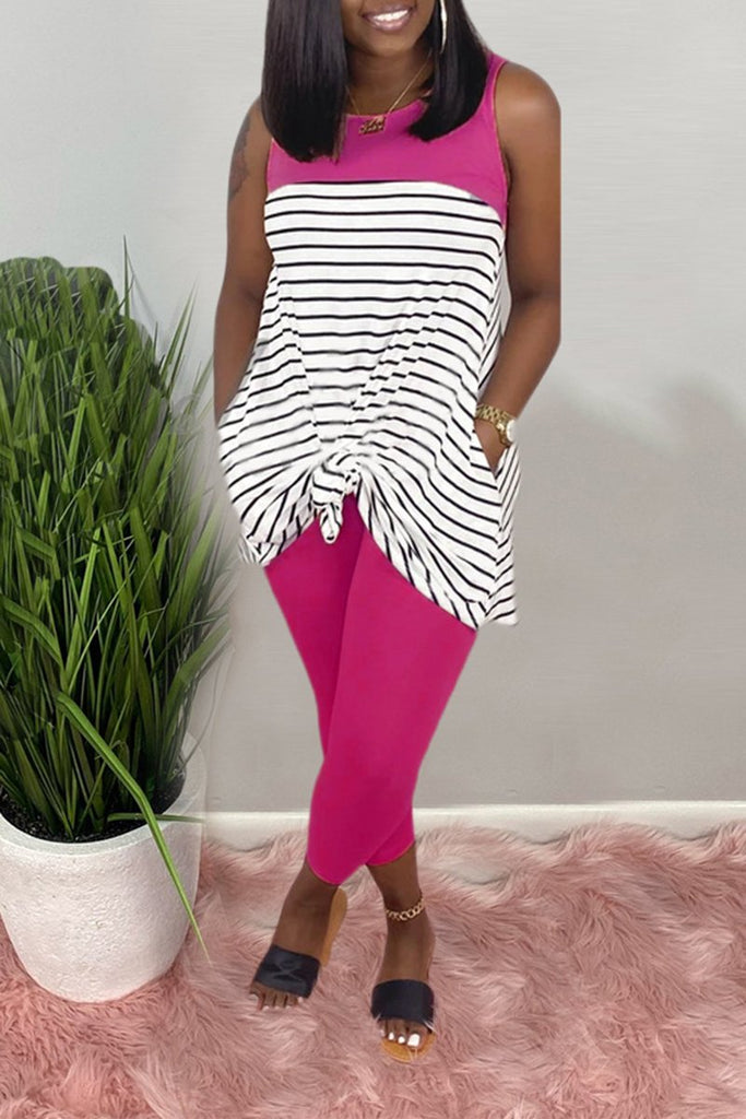 Striped Color Block Sleeveless Two Piece Sets