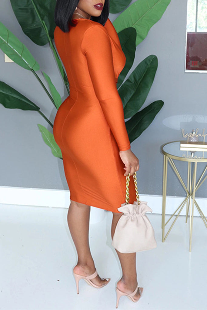 V-Neck Bandage Solid Color Midi Dress