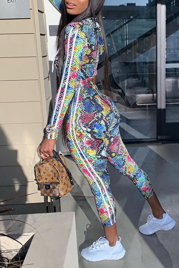 Colorful Print Side Striped Two Piece Outfits