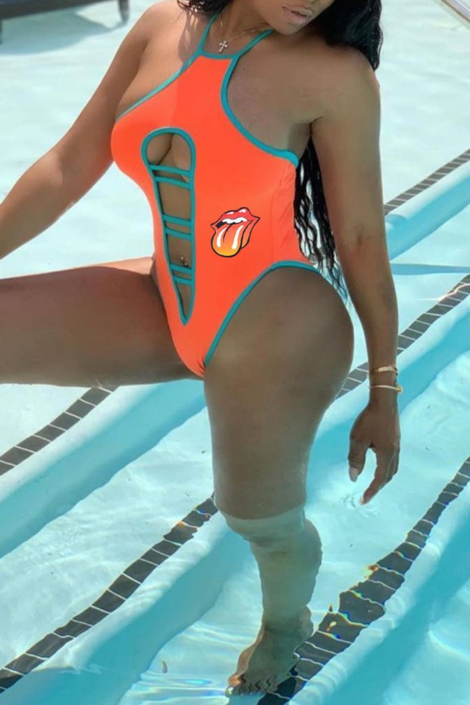 Plus Size Lip Pierced One Piece Swimwear
