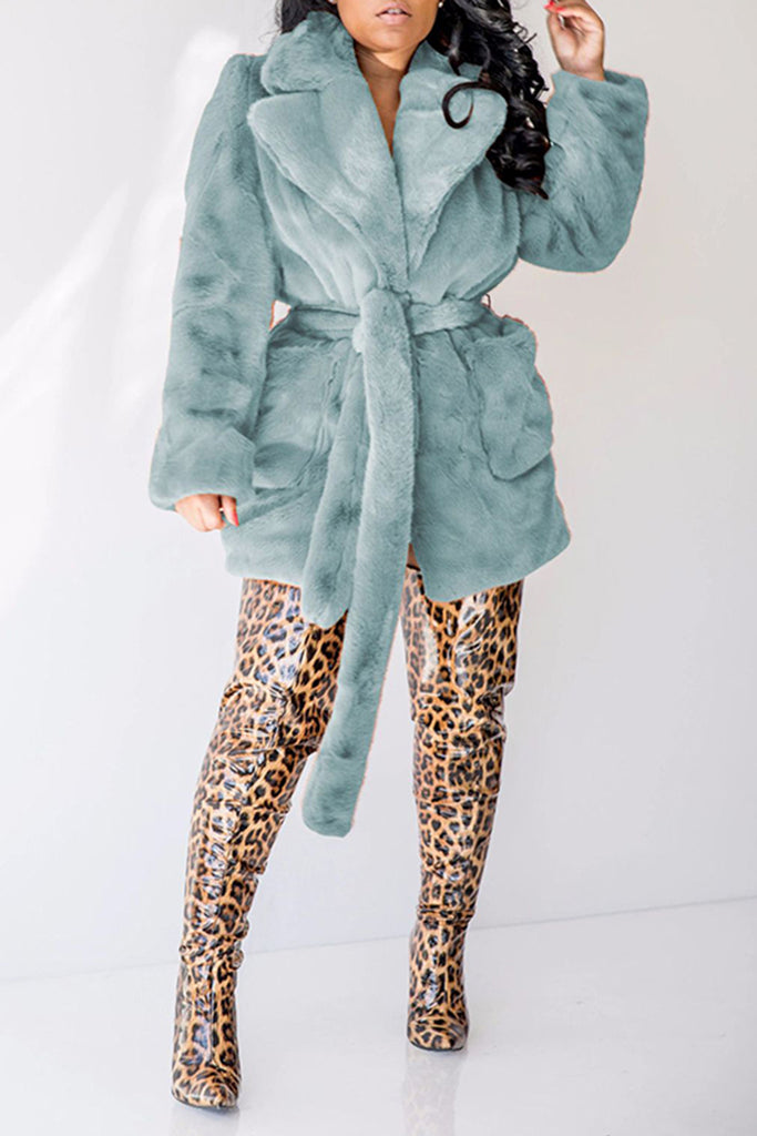Fur Wide Lapel Solid Color Coat With Belt