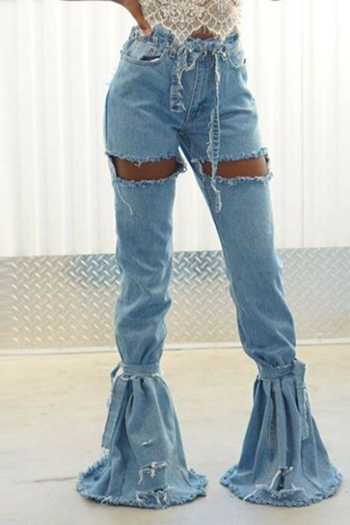 Denim Hole Distressed Ruffled Pants With Belt