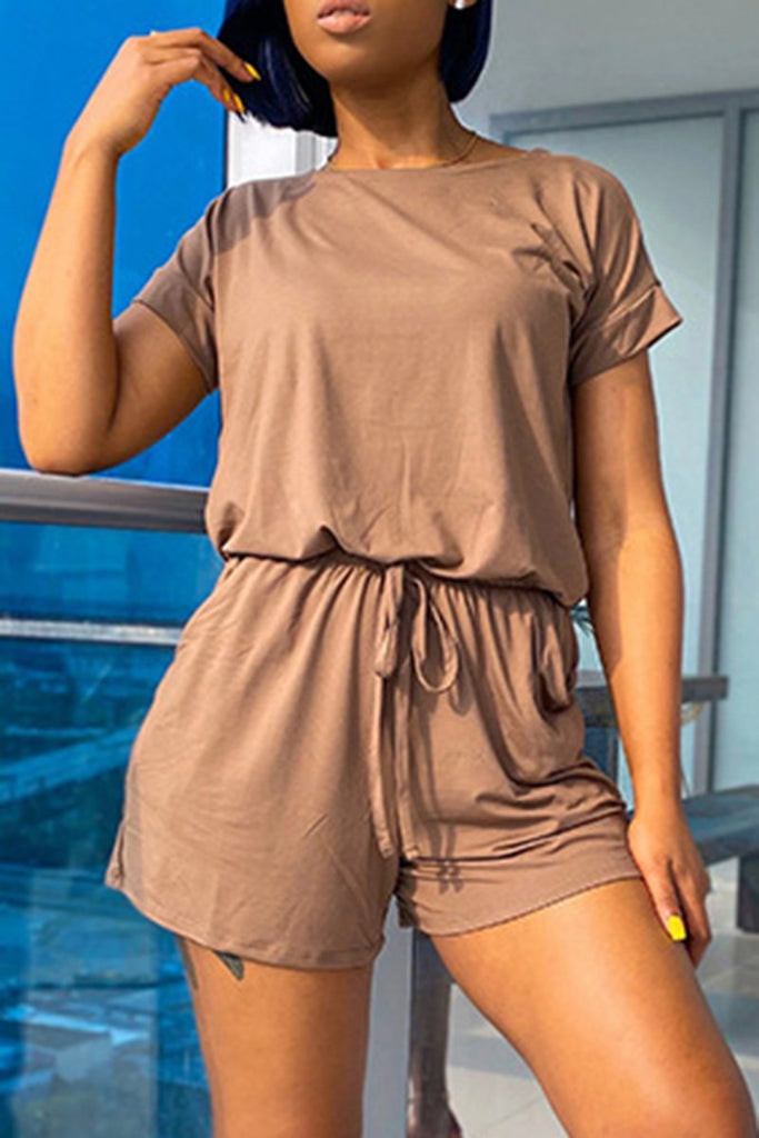 Round Neck Drawstring Waist Pocket Romper