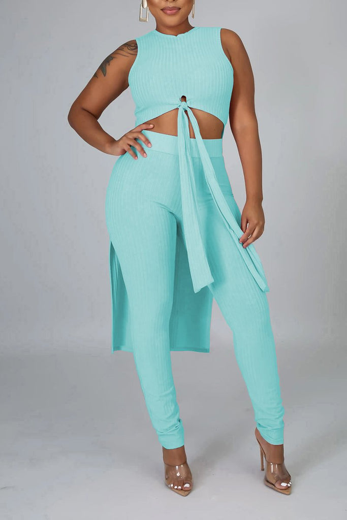 Rib Solid Color Tie Up Two Piece Sets