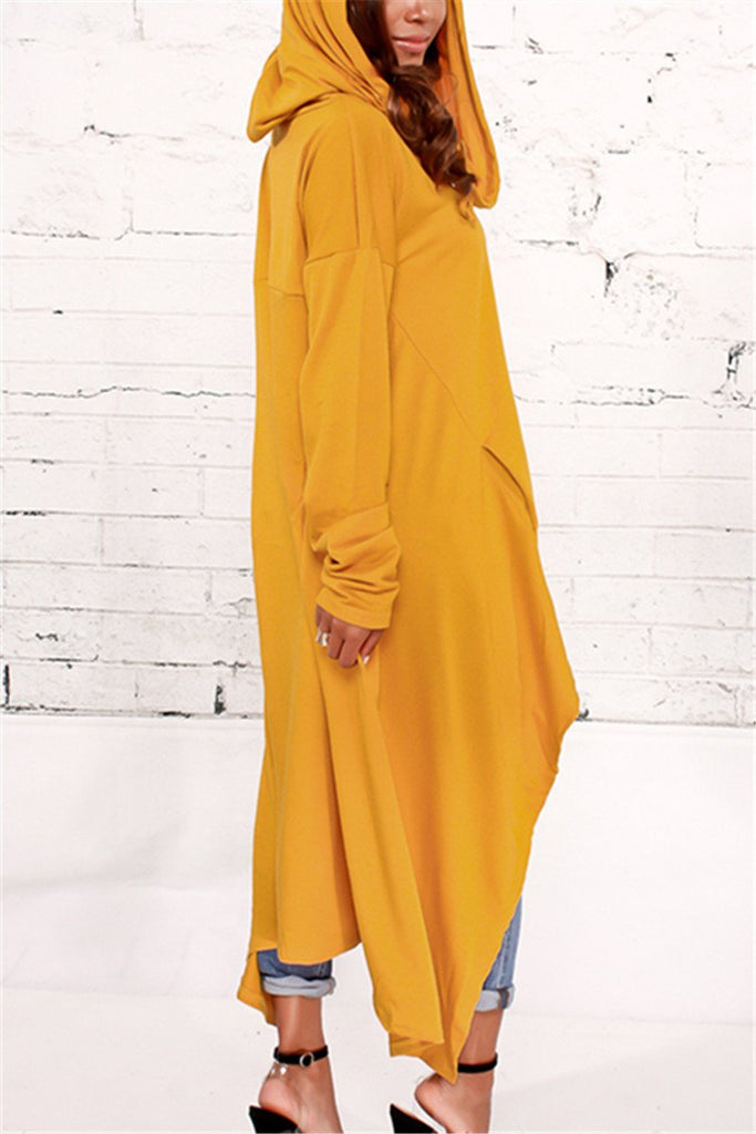 Asymmetric Hem Hooded Dress Top - MISSINDRESS
