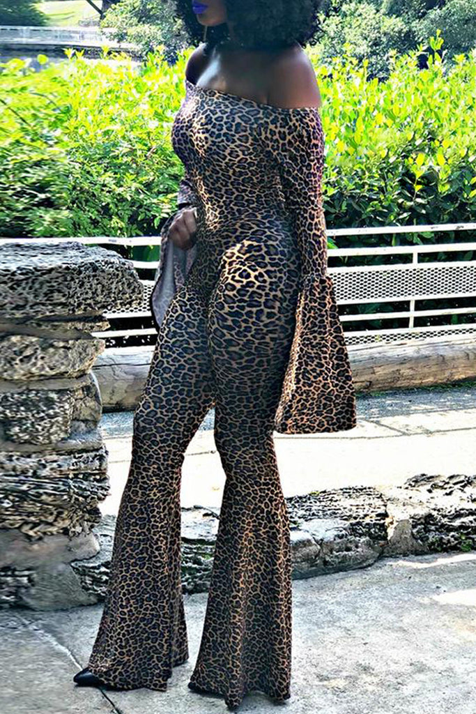 Off The Shoulder Leopard Print Flared Jumpsuit