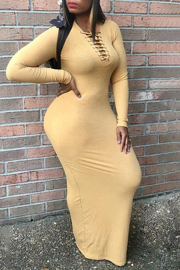 Plus Size Eyelet Detail Bandage Maxi Dress