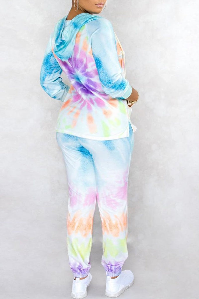 Tie Dye Hooded Collar Casual Two Piece Sets
