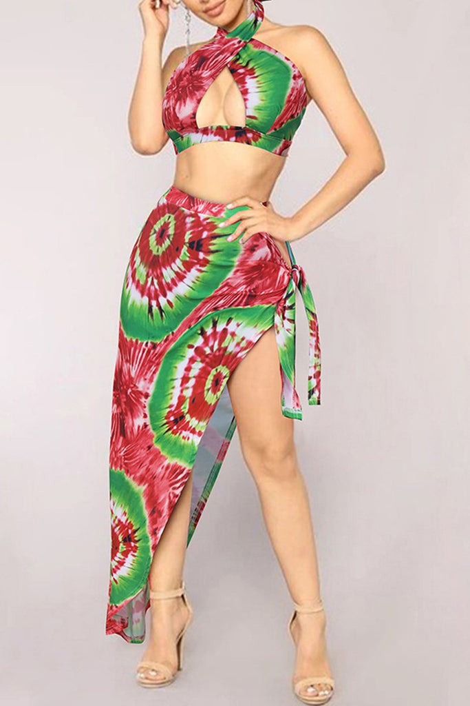 Halter Neck Asymmetric Hem Print Two Piece Swimwear