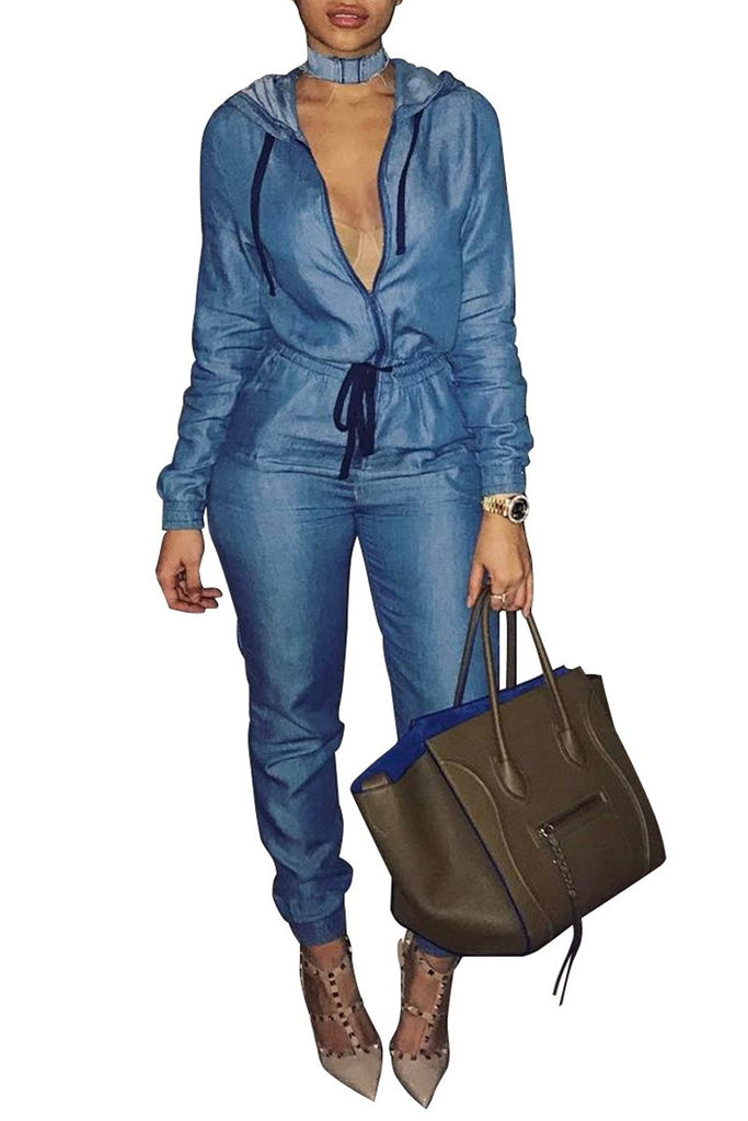 Denim Hooded Collar Drawstring Jumpsuit