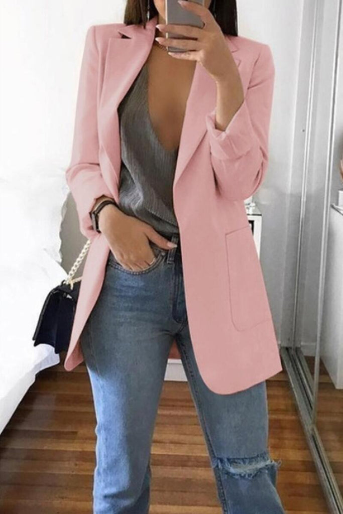 Plus Size Solid Color OL Wide Lapel Blazer