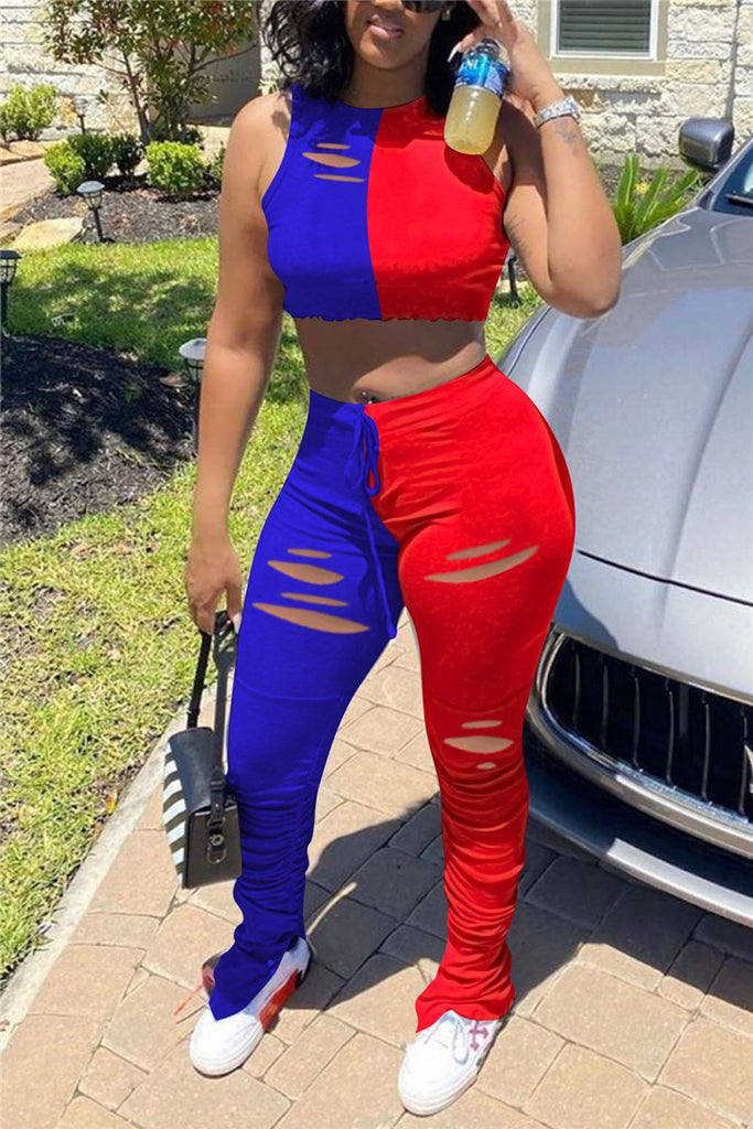 Distressed Color Block Plus Size Scrunched Two Piece Sets