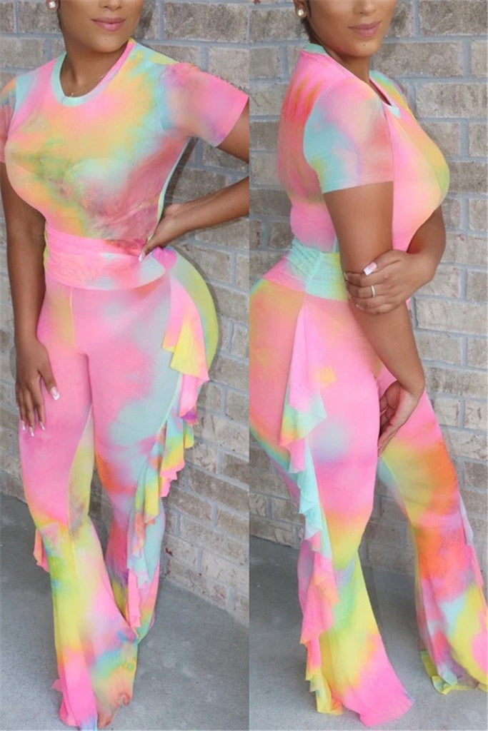 Tie Dye High Waist Ruffled Two Piece Sets