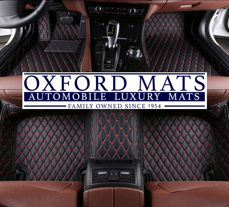 Black with Red Stitching OxFord Mats Custom Leather Car Mats